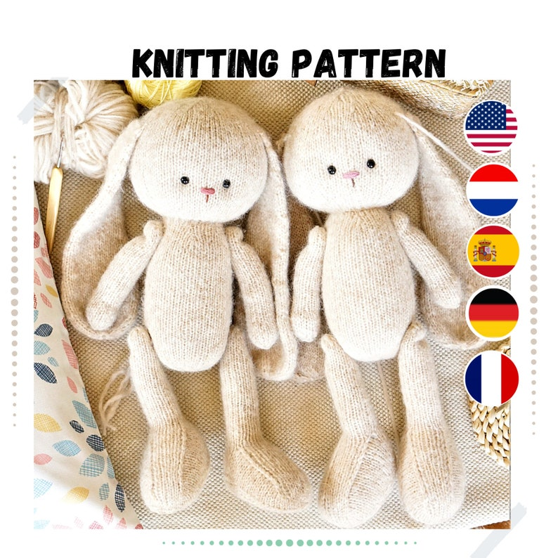 Bunny knitting pattern 15 inches tall  Toy Knitting Pattern image 0