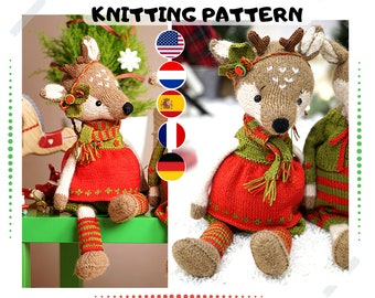 Doll clothes toy knitting pattern PDF - Christmas Outfit for Reindeer Girl