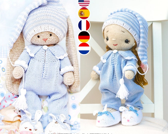 Knitting Pattern - Doll Bedtime Clothes knitting pattern PDF Pajamas - Toy Clothes Knitting Pattern