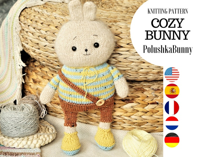 Bunny knitting pattern for doll with clothes (10 inches tall) - Toy Knitting Pattern