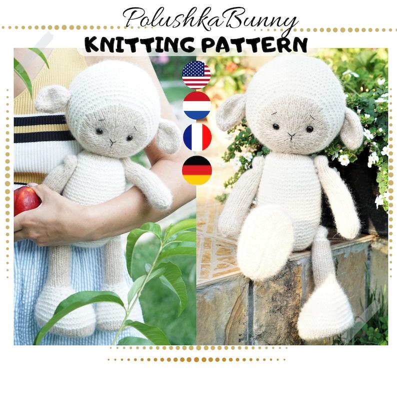 Lamb knitting pattern 15 inches tall  Toy Knitting Pattern image 0