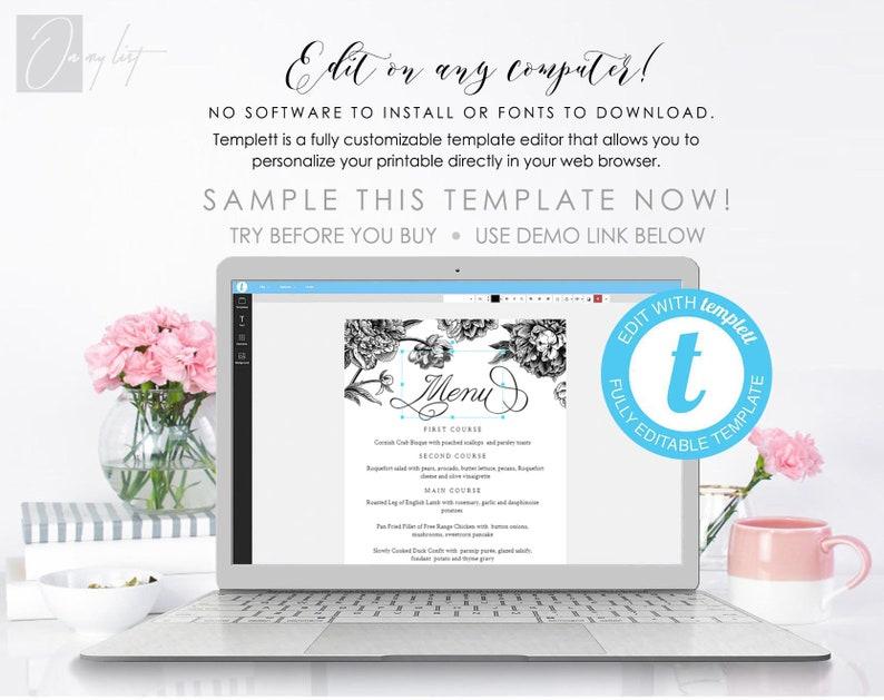 Wedding Menu Template botanical menu Printable DIY Dinner Menu 100/%Editable Text 5x7 /& 3.75x9 #96 INSTANT DOWNLOAD black and white menu
