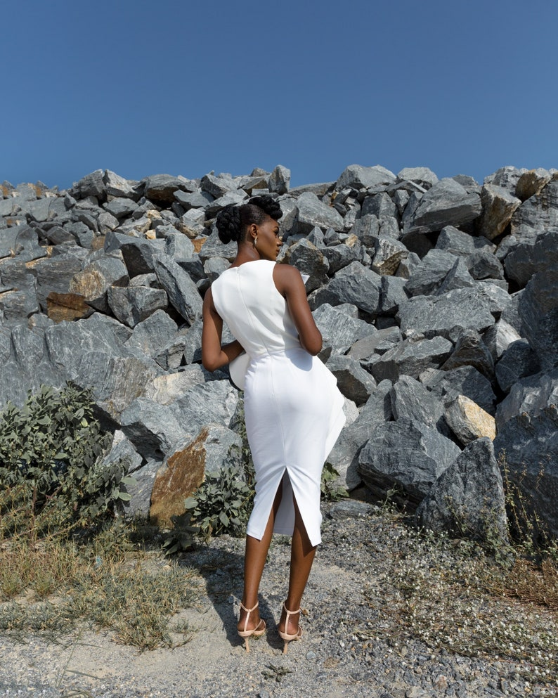 Women statement midi Dress in white Janelle Dress