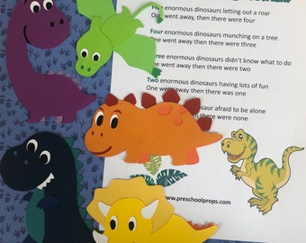 Five Enormous Dinosaurs Puppet / Felt Board Set  English / French