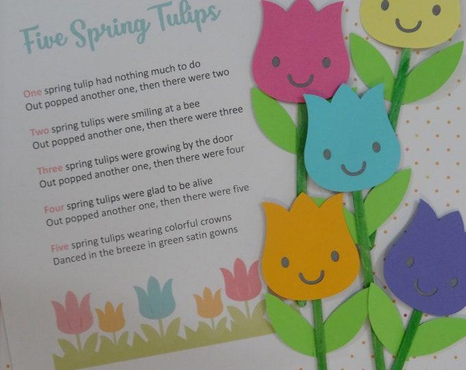 Five Spring Tulips Puppet / Felt Board Set