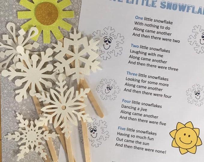 Five Little Snowflakes Puppet / Felt Board Set