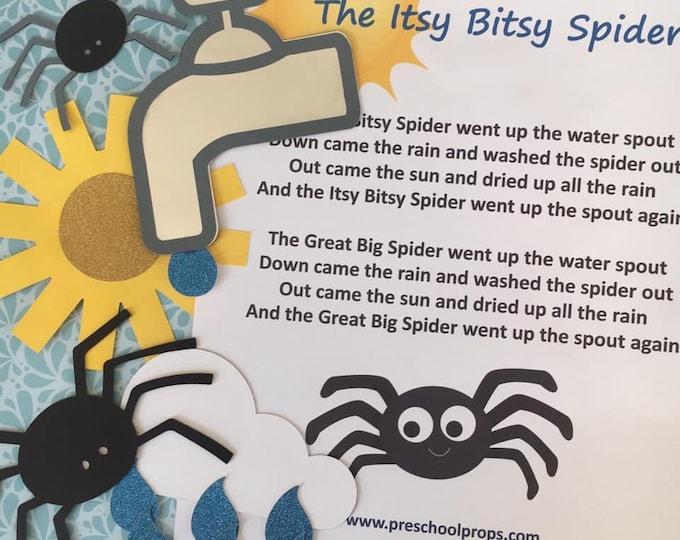 Itsy Bitsy Spider Puppet / Felt Board Set  English / French