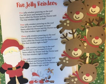 Five Jolly Reindeer Puppet / Felt Board Set