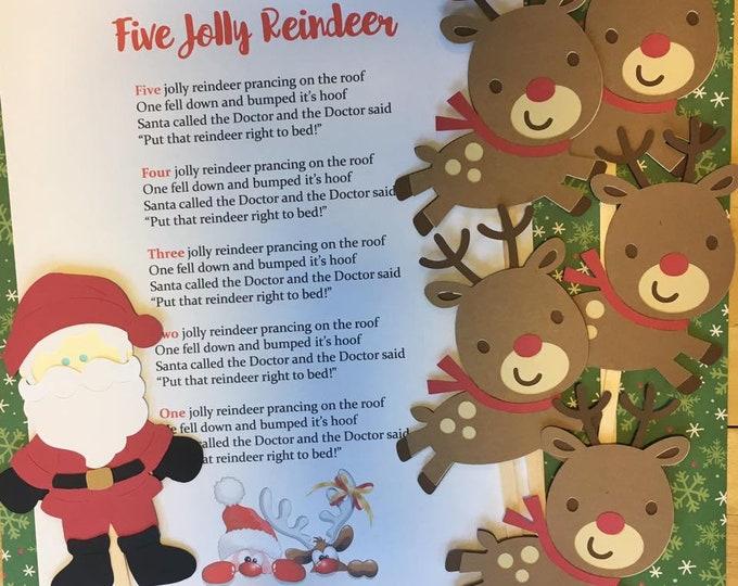 Five Jolly Reindeer Puppet / Felt Board Set