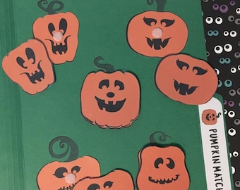 Pumpkin Face Matching File Folder