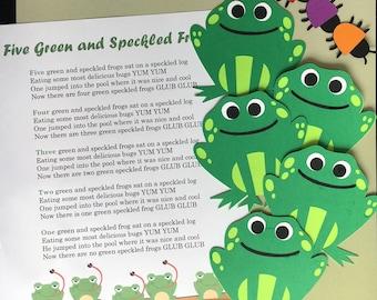Five Green Frogs Puppet / Felt Board Set