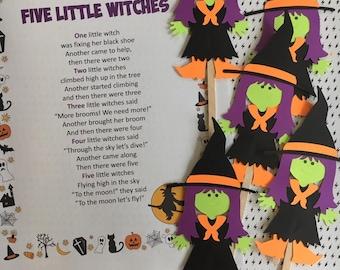 Five Little Witches Puppet / Felt Board Set