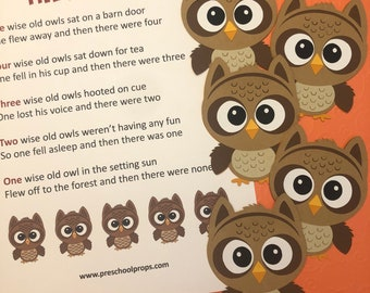 Five Wise Owls Puppet / Felt Board Set