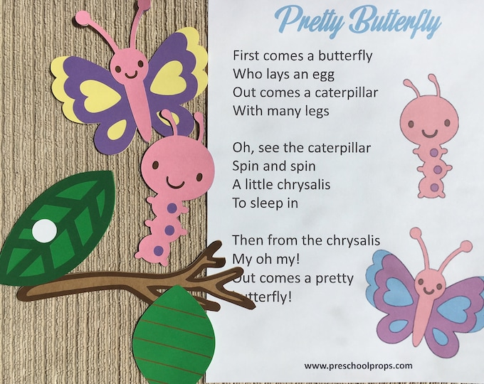 Butterfly Life Cycle Puppet / Felt Board Set  English or French
