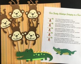 Five Cheeky Monkeys Puppet / Felt Board Set