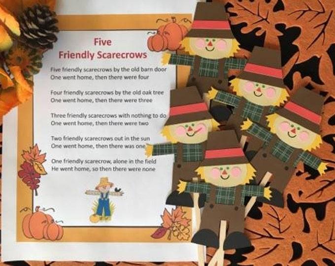 Five Friendly Scarecrows Puppet / Felt Board Set