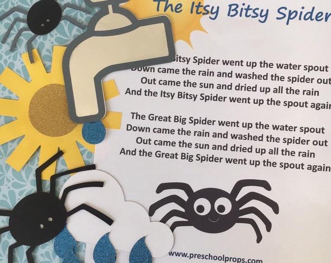 Itsy Bitsy Spider Puppet / Felt Board Set  English / French
