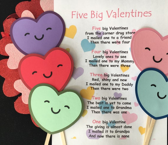 Five Big Valentines Puppet / Felt Board Set