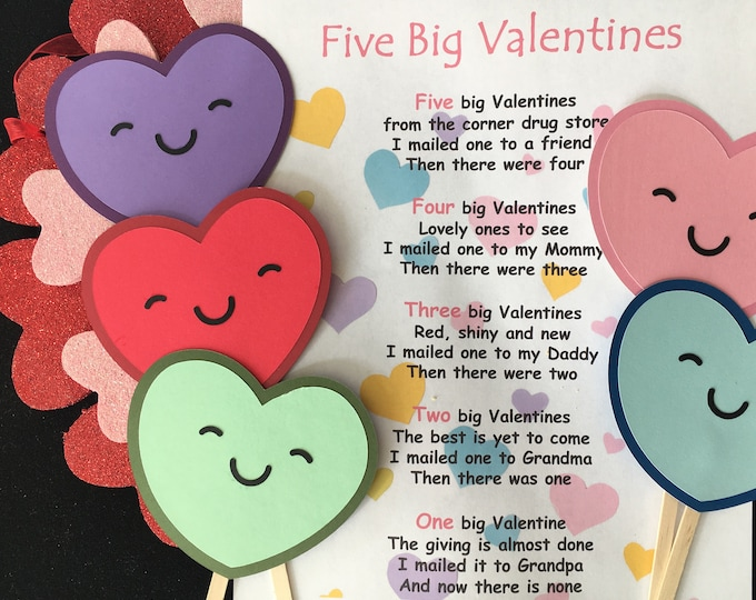 Five Big Valentines Puppet / Felt Board Set