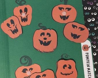 Pumpkin Face Matching File Folder