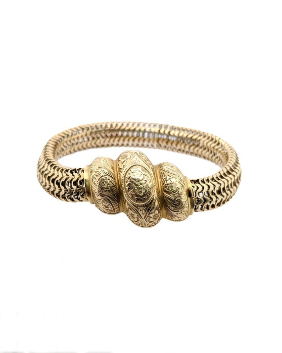 Victorian English Gold Bracelet, Gold Mesh Bracele