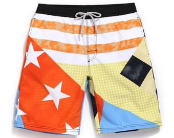5cd6548c34fd5 Swim trunks, orange stars, swim shorts, swimwear, swimsuits, men, beach  apparel, swimwear, shorts men, shorts summer, swimsuit shorts