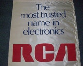 RCA quot The most trusted name in electronics quot silk banner wall sales dealer display sign man cave audiophile advertising MCM art deco 1960 39 s
