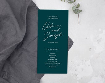 Emerald Green Calligraphy Wedding Program // DIY Editable Template 01