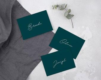Emerald Green Calligraphy Name Card // Place card // DIY Editable Template 01