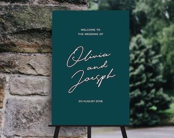 Emerald Green Calligraphy Wedding Welcome Sign // Minimalist and Modern // DIY Editable Template 01