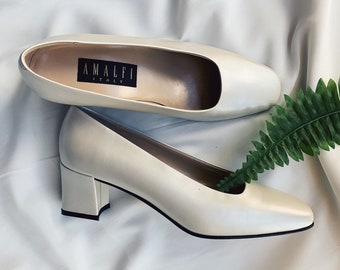 0afa8232384 Amalfi Pearl White Genuine Leather Heels size 8 - Made in Italy
