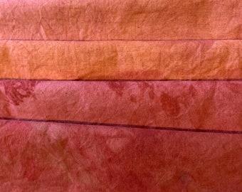 Hand dyed FQ Bundle#8 Raw Silk Fat quarters in Silver GrayShibori#037