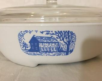 Retro Kitchen Browning Skillet Corningware Corning Ware Browning Skillet #1380 with Pyrex Lid MOD Kitchen Pan Blue Colonial House