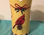 Lenox Winter Greetings Red Cardinal Metal Wine Cooler Bucket Vase Large 9 1 2 quot Holiday Christmas Decor Toleware