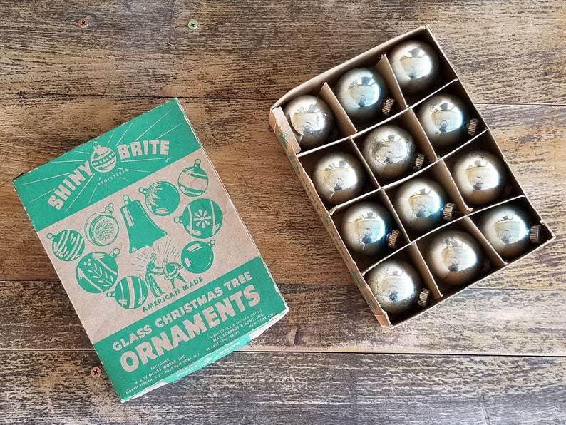 Vintage Shiny Brite Silver Glass Christmas Ornaments Made in USA