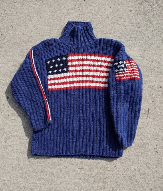 Vintage Wool American Flag Hand Knit sweater