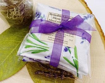 Lavender Dryer Sachets - Reusable Lavender Sachet Bags - Set of 3 - Eco Friendly Laundry -  Aromatherapy