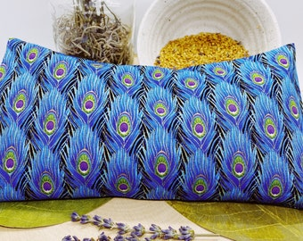 Lavender Eye Pillow - Pampering Gift - Meditation Pillow -Yoga Eye pillow – Washable Cover - Headache relief – Natural- Peacock Feathers