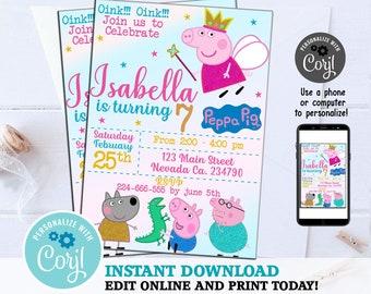 Peppa Pig Invitation Instant Download Birthday Editable Template