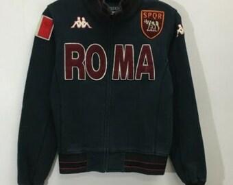 f9bda33be8 Vtg AS Roma Spell Out Serie A Soccer Football Kappa Track Jacket Sz S  Burgundy