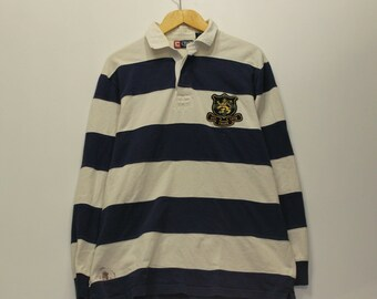 ec12fc0a5f5 Vintage Chaps Long Sleeve Rugby Striped Shirt Size Large Blue White