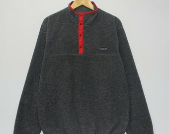 478439ad10b32 Vintage Patagonia T-Snap Fleece Pullover Sweater Size XL Gray Red