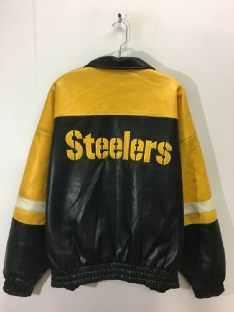 hot sale online 349f3 38fb0 Vintage Pittsburgh Steelers NFL Game Day Pleather Jacket Size XL