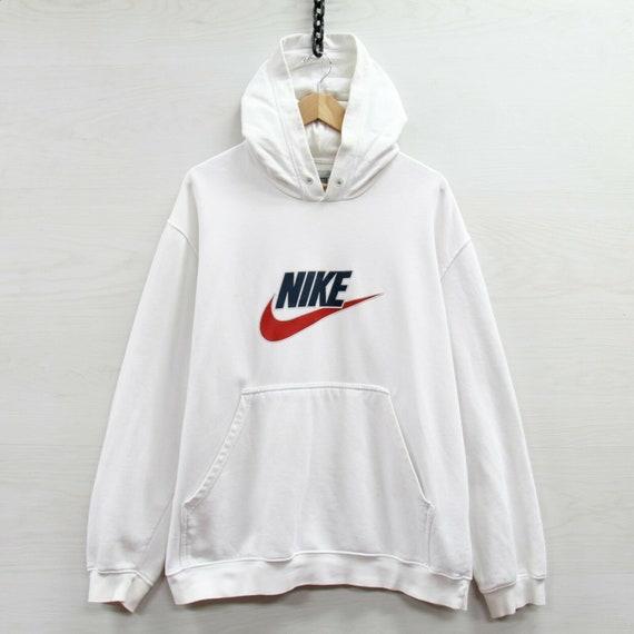 Vintage Nike Sweatshirt Hoodie Size XL White Spell