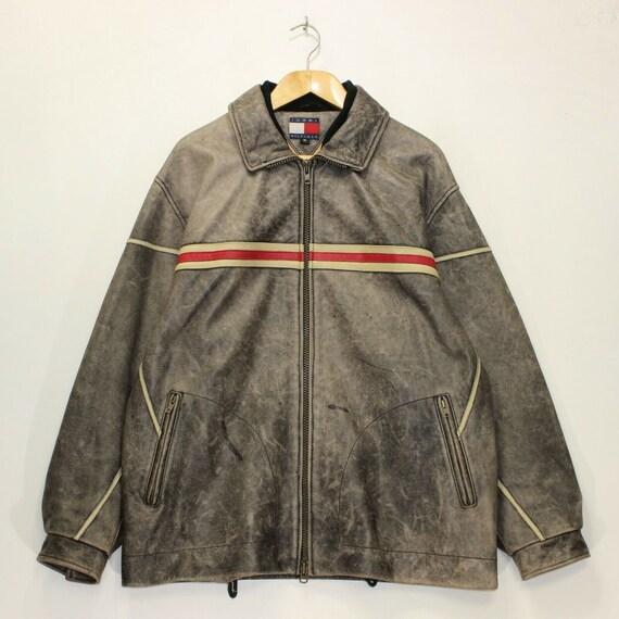 Vintage Tommy Hilfiger Striped Leather Racing Jack