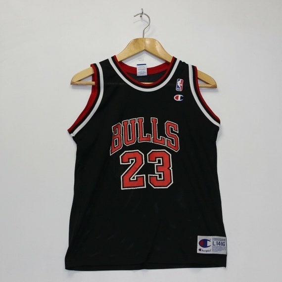 innovative design 1b3d5 bc31b Vintage Michael Jordan Chicago Bulls NBA Champion Jersey Sz Youth L 14-16  Black