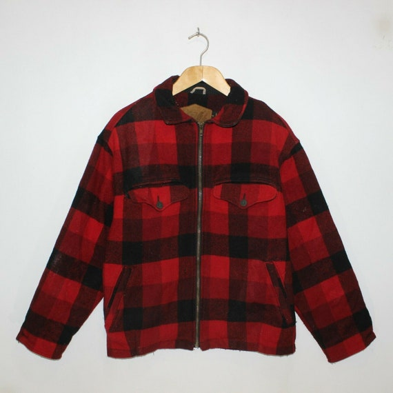 Vintage Woolrich Plaid Fleece Lined Overcoat Jacke