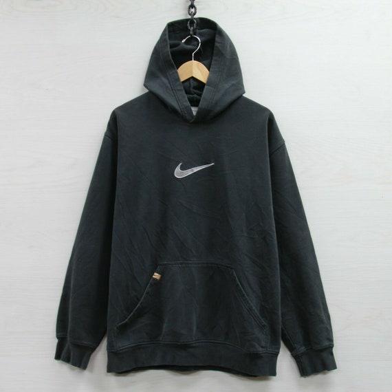 Vintage Nike Sweatshirt Hoodie Size XL Black Big E