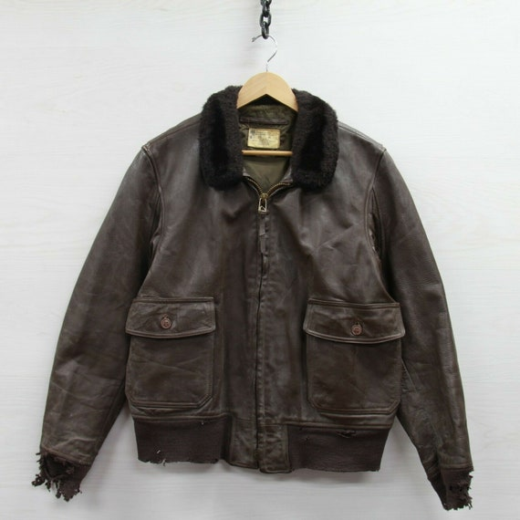 Vintage Type G1 Leather Flight USN Jacket Size 46
