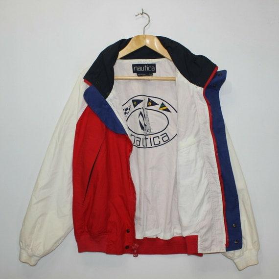 Vintage Nautica Light Jacket Size Large Red White